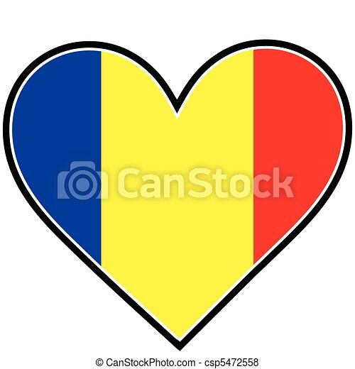 Romania Heart Flag - csp5472558