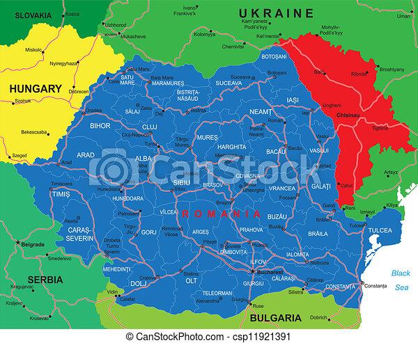 Cartina Romania Regioni.Romania Mappa Romania Dettagliato Altamente Citta Principale Amministrativo Vettore Roads Mappa Regioni Canstock