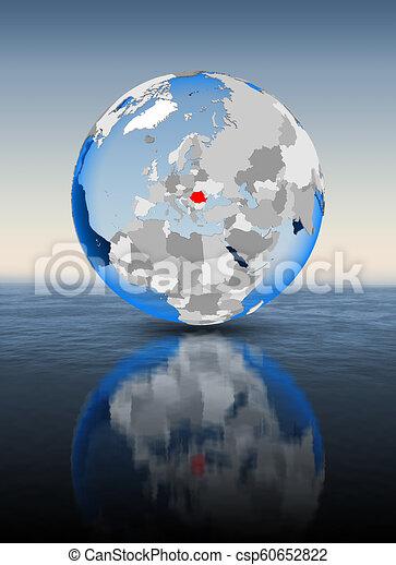 Romania on globe in water - csp60652822