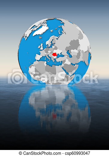 Romania on globe in water - csp60993047