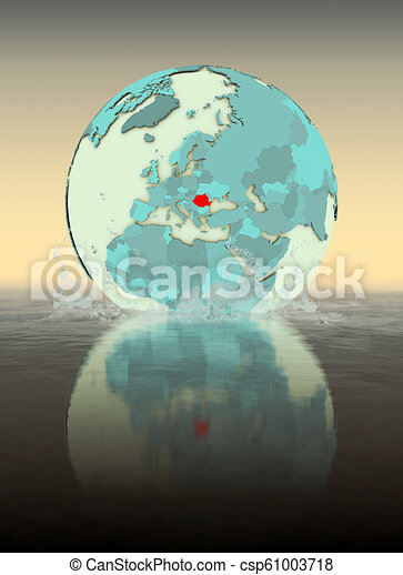 Romania on globe splashing in water - csp61003718