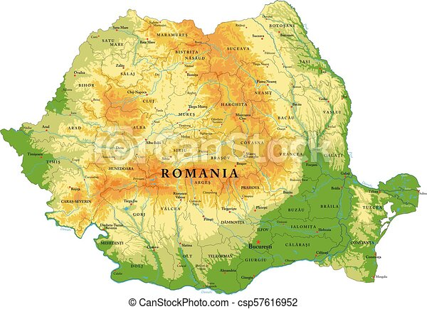 Transilvania Romania Cartina.Romania Relief Map Highly Detailed Physical Map Of Romania In Vector Format With All The Relief Forms Regions And Big Canstock