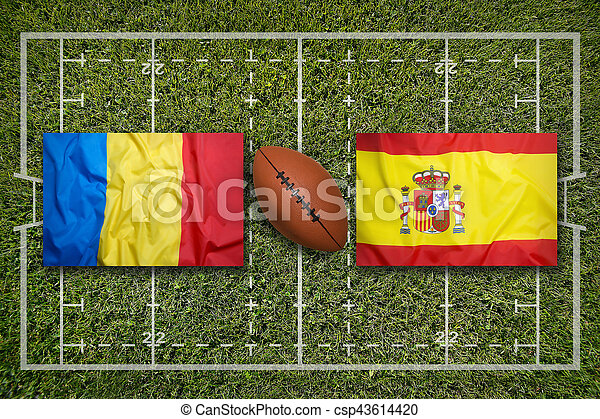 Romania vs. Spain flags on green rugby field