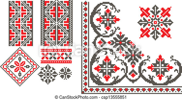 Romanian Traditional Patterns Vector
