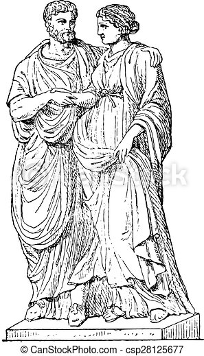 Marido romano, grabado antiguo. - csp28125677
