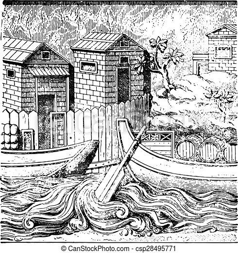 Barcos romanos, grabados antiguos. - csp28495771