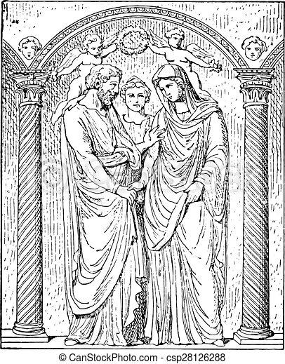Matrimonio romano, grabado antiguo. - csp28126288