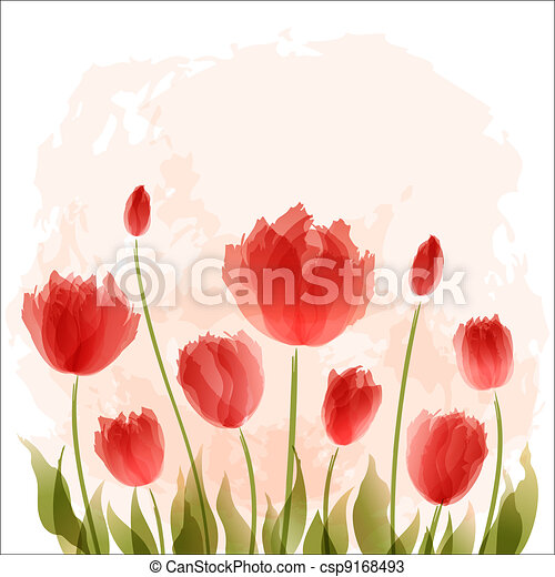 Romantic background with blooming - csp9168493