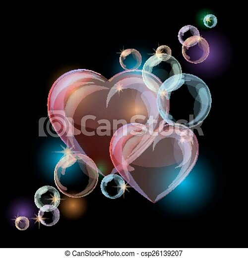 Romantic background with colorful bubble hearts shapes on black background.  - csp26139207
