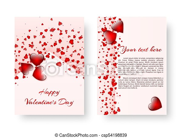 Romantic Background With Red Hearts Template Of A Brochure In A