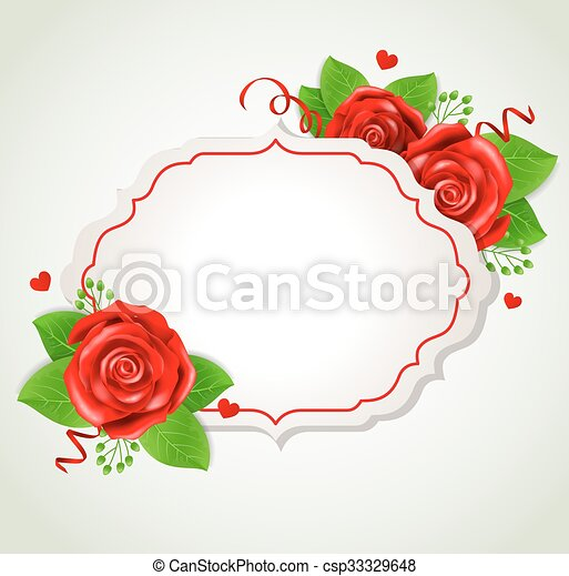 Romantic banner with red roses - csp33329648