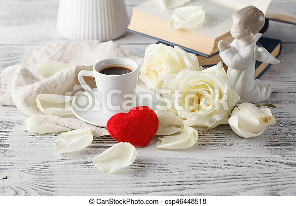 Romantic breakfast coffee with white rose - csp46448518