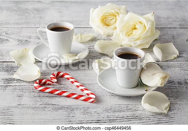 Romantic breakfast coffee with white rose - csp46449456