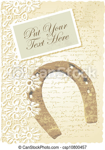 romantic card with horseshoe - csp10800457