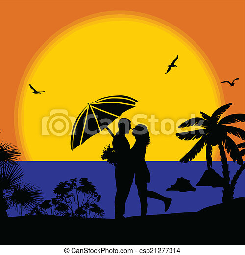 Romantic Couple On The Beach Sunset Vector Illustration