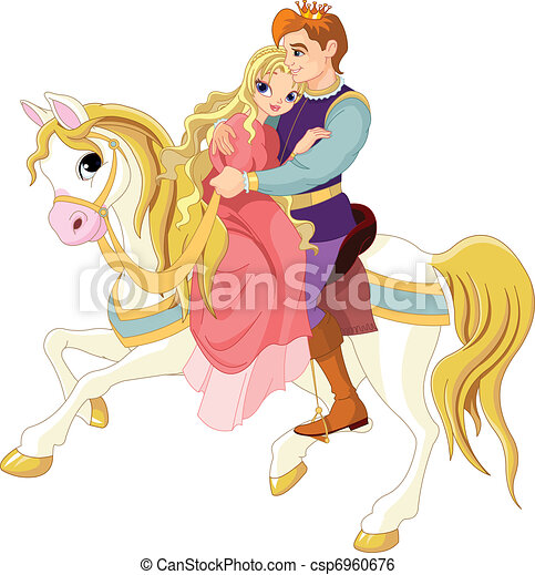 Romantic couple on white horse - csp6960676