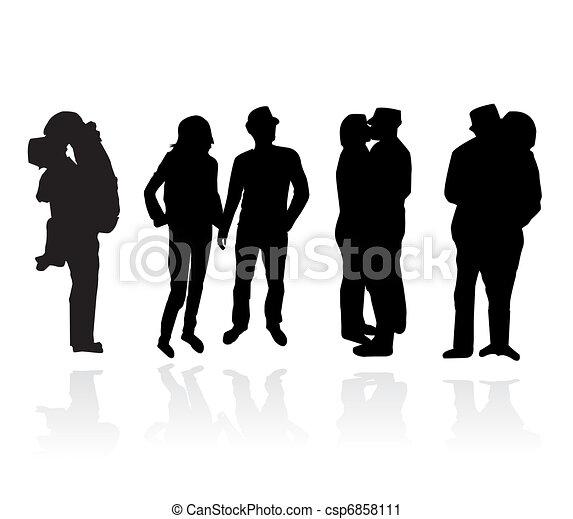 Romantic couples silhouettes  - csp6858111
