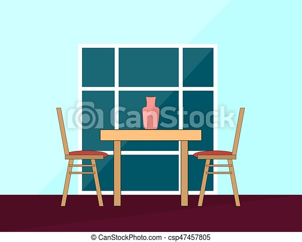 Vector Romantic Dinner Dining Table And Chairs For Two People In Flat