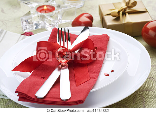 Romantic Dinner. Place setting for Valentine's Day - csp11464382