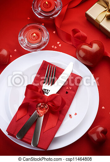 Romantic Dinner. Place setting for Valentine's Day - csp11464808