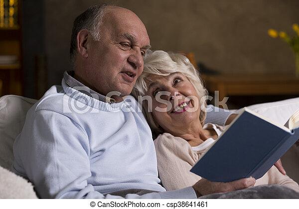 Romantic evening of an elderly couple - csp38641461