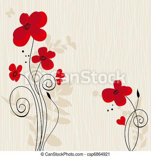 Romantic floral background  - csp6864921