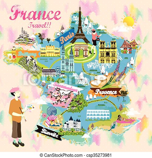 Map Of France Tourist Attractions.Romantic France Travel Map