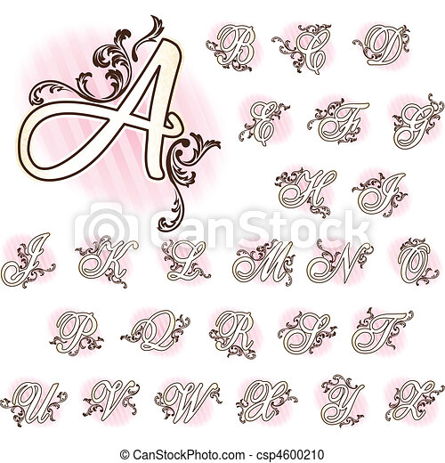 Romantic French retro alphabet - csp4600210