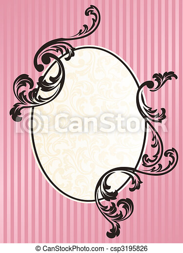 Romantic French retro oval frame in pink - csp3195826