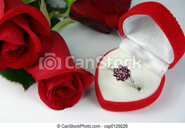 Romantic gift ruby ring in heart shaped box with red rose romantic gift csp0129226 negle Image collections