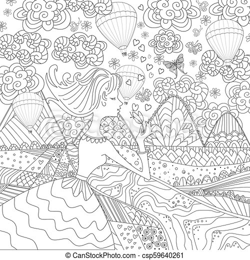 romantic girl in fancy landscape for your coloring book - csp59640261