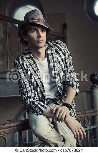 Romantic guy in a stylish interior - csp7073624
