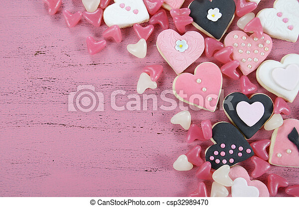 Romantic Heart Shape Pink White And Black Cookies Candy Background On Vintage Shabby Chic Stock Photo