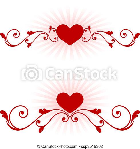 romantic hearts Valentine's Day design background - csp3519302