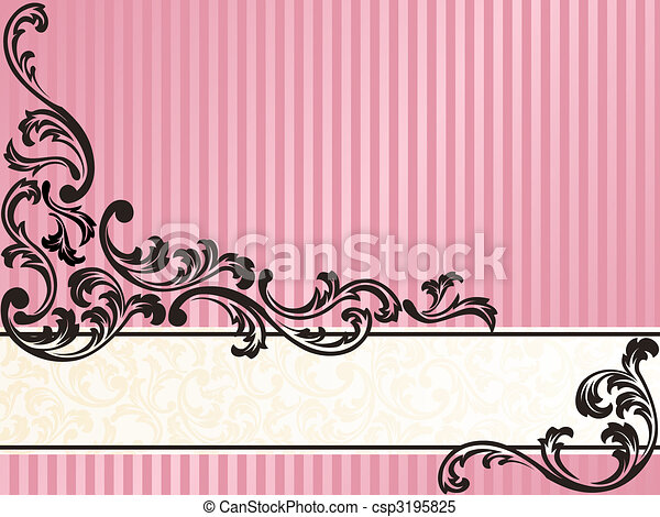 Romantic horizontal French retro banner in pink - csp3195825
