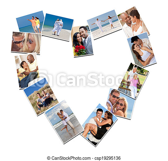 Romantic Interracial Couples Love Romance Montage - csp19295136