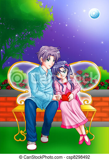 romantic moment cartoon illustration of a couple cuddling on a park