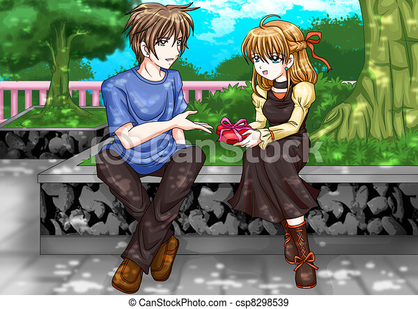 romantic moment cartoon illustration of a man giving a girl a present