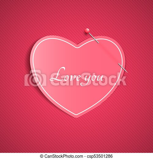 Romantic note from a paper heart with a pin. love you. happy ...