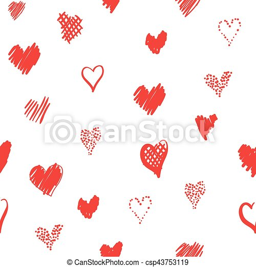 Romantic pattern with hearts - csp43753119