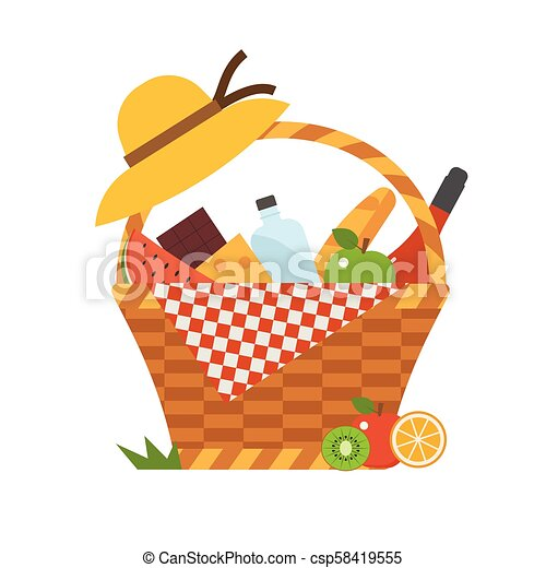 Romantic Picnic Basket With Wine And Food Wicker Picnic Basket With Wine And French Bread Opened Food Hamper With Blanket Canstock