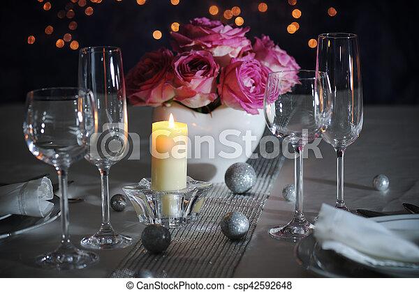 romantic place setting - csp42592648