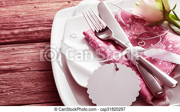 Romantic Place Setting with Rose and Blank Tag - csp31820297