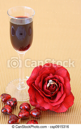 Romantic Proposal Small After Dinner Wine Glass With A Red Rose With A Ring In It Canstock