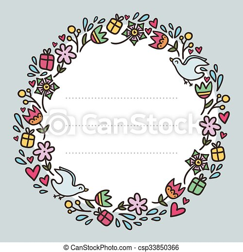Romantic round frame with flowers, hearts, gifts and birds... clip ...