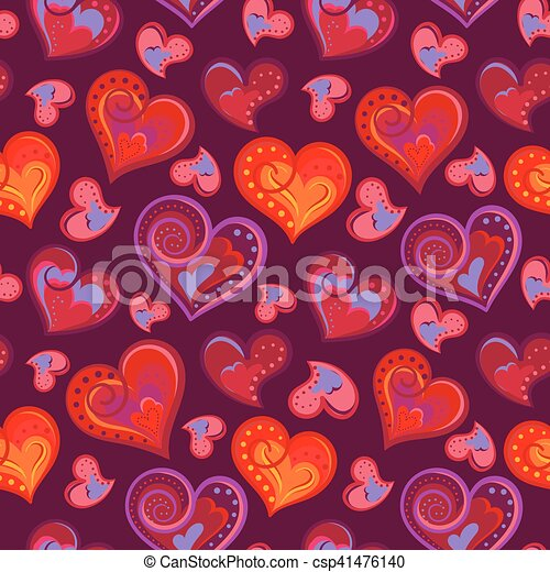 Romantic seamless pattern with colorful hand draw hearts.  Bright hearts on purple background. Vector illustration - csp41476140