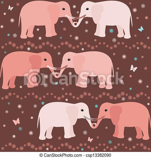 Romantic seamless pattern with elephants - csp13382090