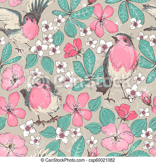 Romantic Seamless Patterns With Wild Roses Robin Birds Vintage