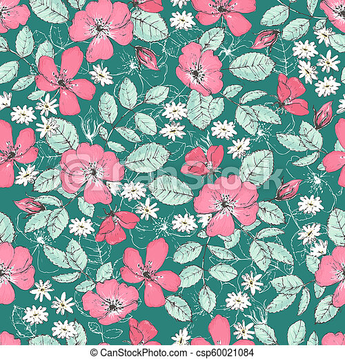 Romantic Seamless Patterns With Wild Roses Vintage Style
