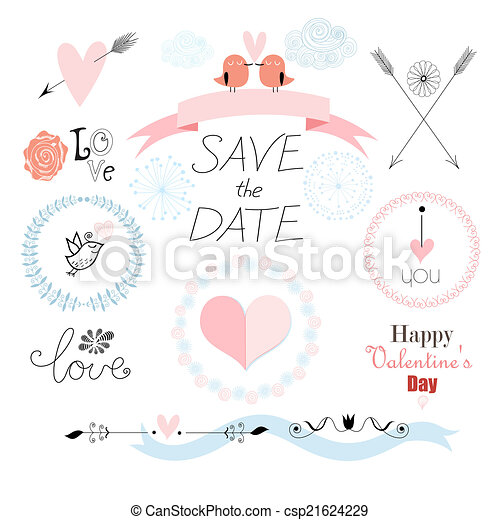 Romantic Set With Different Elements For The Holiday Of Love